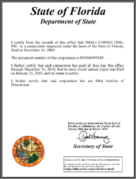 Example of a Florida (FL) Good Standing Certificate