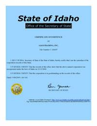 Example of an Idaho (ID) Good Standing Certificate