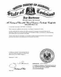 Example of a Louisiana (LA) Good Standing Certificate