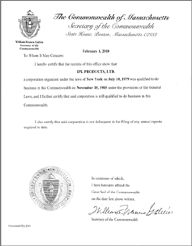 Example of a Massachusetts (MA) Good Standing Certificate