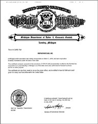 Example of a Michigan (MI) Good Standing Certificate
