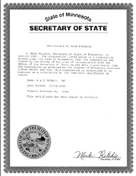 Example of a Minnesota (MN) Good Standing Certificate