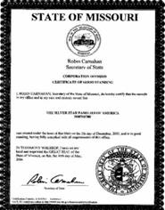 Example of a Missouri (MO) Good Standing Certificate