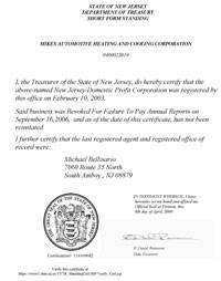 Example of a New Jersey (NJ) Good Standing Certificate