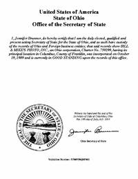 Ohio Good Standing Certificate Oh Certificate Of Existence