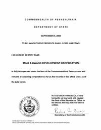 Example of a Pennsylvania (PA) Good Standing Certificate