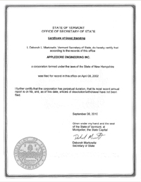 Example of a Vermont (VT) Good Standing Certificate