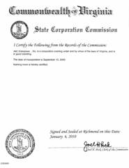 Example Virginia Good Standing Certificate (VA)