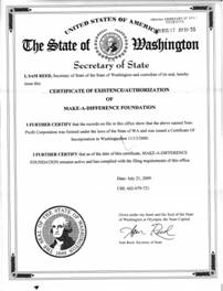 Example of a Washington (WA) Good Standing Certificate