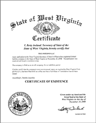 West Virginia Good Standing Certificate