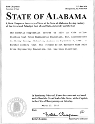 Example of an Alabama (AL) Good Standing Certificate
