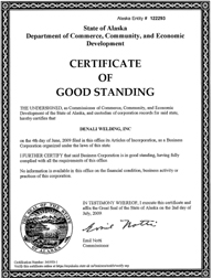 Alaska good standing certificate ak certificate of existence example of an alaska certificate of good standing yelopaper Image collections