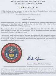 Example of a Colorado Good Standing Certificate