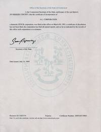 Example of a Connecticut (CT) Good Standing Certificate