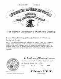 Illinois Good Standing Certificate - Illinois Certificate of Existence