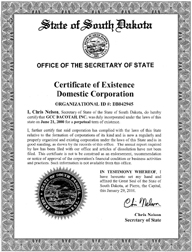 Example of a South Dakota Good Standing Certificate