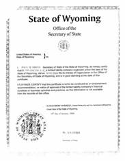 Example of a Wyoming (WY) Good Standing Certificate